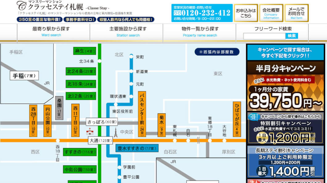 札幌・すすきの近郊にマンスリーマンションを借りてすんでみた感想。